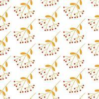 autumn rowan seamless pattern. vector background