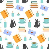 seamless pattern book candles cat vector