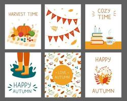 set autumn cards with leaves and harvest vector