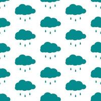 seamless pattern of clouds and raindrops vector
