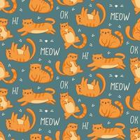 seamless pattern ginger cats on a blue background and text lettering vector