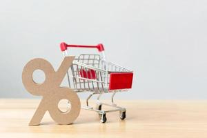 Percentage sign symbol icon wooden and shopping cart photo