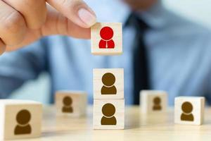 concepto de equipo de construcción de negocios de gestión y contratación de recursos humanos foto