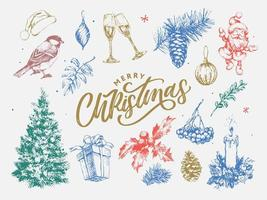 New year and christmas set sketch illustration vector