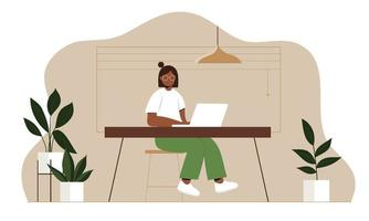 Working at home women working on laptops flat style illustration vector