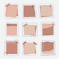 notas y material de papelería para el juego de escritura de notas vector