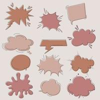 conjunto de estilo de doodle de globo de texto de burbuja de habla vector