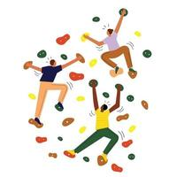 People climbing on artificial rock wall vector