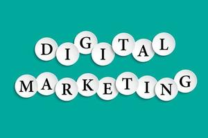 Digital marketing inscription composed of paper wheels with shadow vector