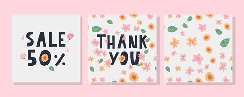 A greeting card template with floral decoration letter vector