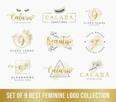 best feminine logo collection set, perfect for beauty company logo vector
