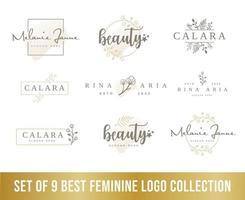 La mejor colección de logotipos femeninos, perfecta para los logotipos de empresas de belleza. vector