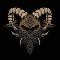 The Horned Goat with a Face Mask Vector Artwork