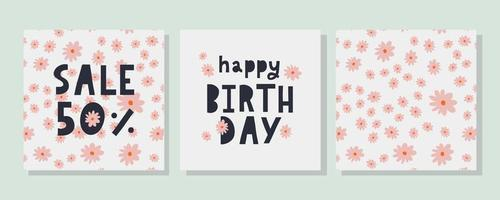 Happy Birthday text Flowers letter Holiday Banner Card Celebration vector