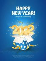 2022 Happy New Year vector illustration. Merry Christmas celebration.