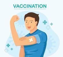 hombre mostrando vacunado. concepto de vacunación. ilustración vectorial vector