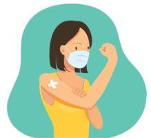 mujer mostrando vacunada. concepto de vacunacion vector