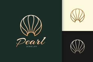 El logotipo de perlas o joyas de lujo representa la belleza y la moda. vector