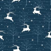 Christmas seamless pattern with reindeers on winter night vector