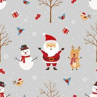 Christmas seamless pattern with Santa Claus and friends on winter vector
