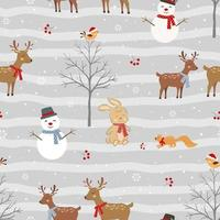 Christmas seamless pattern with cute animals and snowman on winter vector