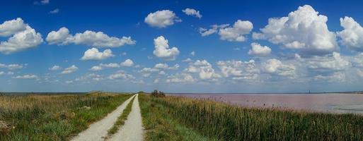 Natural landscape with pink salt lake. photo
