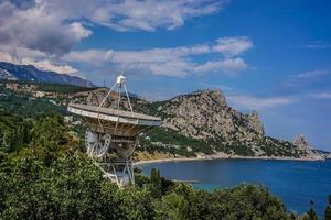 space Observatory in the beautiful sea Bay on the Black sea. photo