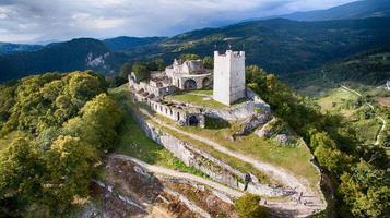 ruins on top of a mountain in New Athos, Abkhazia photo