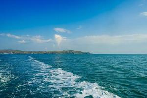 Seascape with a view of the coastline of the Kerch Strait. photo