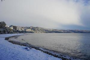 the coastline in winter weather by the sea photo