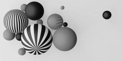 muchas bolas decorativas rayas horizontales en blanco y negro foto