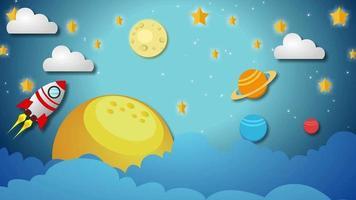 fundo dos desenhos animados - nave espacial e planetas video