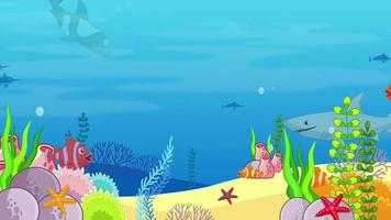 Cartoon Background - Underwater Sea Life video
