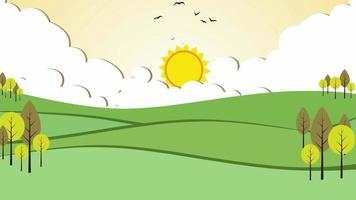 Cartoon Background - Falls Autumn Sunset video