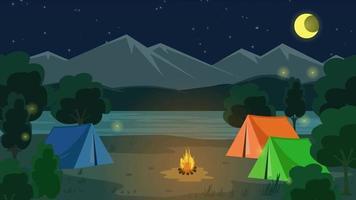 Cartoon Background - Camping Mountain Night video