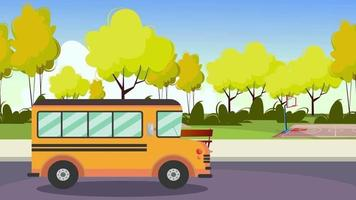Cartoon Background - School Bus Moving video