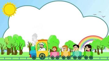 Cartoon Background - Kids Riding Train video
