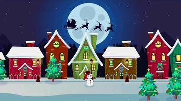 Cartoon Background - Christmas Santa Riding Sleigh video