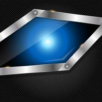 Abstract metal and glass background with frame vector