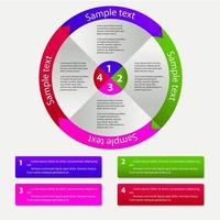 Concept of colorful circular banners with arrows for different b vector