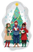 People Singing in Front of the Christmas Tree vector