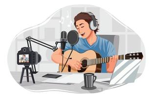 Musician Performing in Live Stream Concept vector