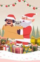 Santa Claus and His Pets vector
