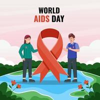 World AIDS Day with Characters Holding Red Ribbon vector