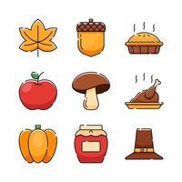Thanksgiving Icon Set Collection vector