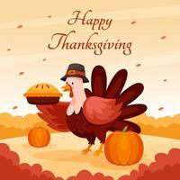 Happy Thanksgiving with Turkey Character and Pumpkins vector