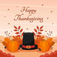 Happy Thanksgiving Background with Pilgrim Hat and Foliage vector
