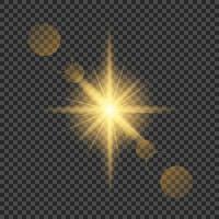 Sun light flash with lens flare effect vector