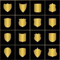 Golden heraldic shields. Retro style borders, frames, labels vector