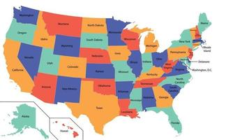 High Detail USA Map with different colors for each state. vector